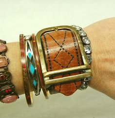 Leather Cuff Buckle Bracelet by GallimaufryClothing, $28.00