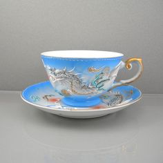 Vintage Japanese Cup & Saucer Dragonware by AtticDustAntiques, $34.00