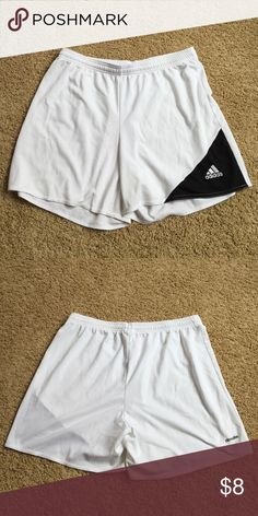 Adidas Soccer Shorts Lightly worn. Cut the tag off but they are large. ... Next day shipping❗️ No trades❗️ Everything must go❗️ Adidas Shorts