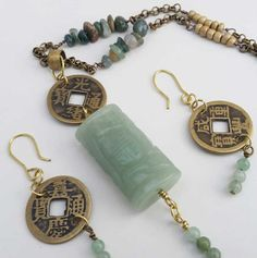 Lucky Chinese Coin Green Aventurine Prosperity by BroadwayDesignz. The design of this set relies heavily on Chinese numerology, and as such it is all made to bring you good luck and fortune.