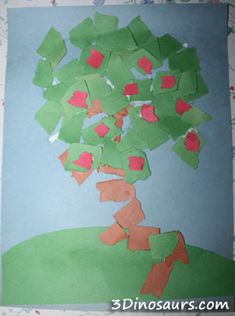 Life Cycle of an Apple Tree – Torn Paper Apple Trees   3 Dinosaurs