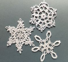 Christmas tree decorations, crocheted snowflakes, holiday ornaments, white applique, embellishments /set of 3/                                                                                                                                                                                 Plus