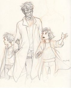 Harry and his sons Albus and James by Burdge Bug