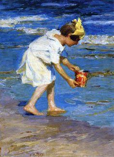 Fille avec un seau, huile sur panneau de Edward Henry Potthast (1879-1881, United States)