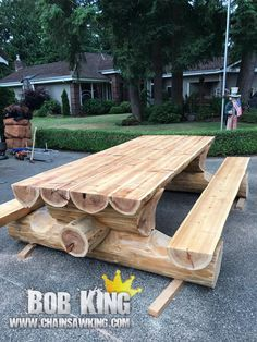 Log Picnic Bench  By Bob King www.chainsawking.com www.facebook.com/chainsawking #RusticLogFurnitureunique