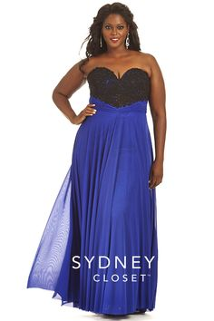 Sydneys Closet SC7179 Plus Size Beaded Lace Gown - French Novelty