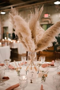 Pampas Grass and Blush Accents - An Industrial Chic Wedding at The Engine Room - Engaged Life Wedding Goals, Chic Wedding, Wedding Table, Floral Wedding, Wedding Planning, Dream Wedding, Wedding Day, Wedding Details, 1920s Wedding