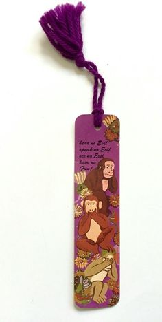 Vintage Hear no Evil, Speak See Have no Fun! Antioch Bookmark 1974 Monkeys #Antioch
