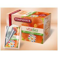 Vitadiez #pompadour Escaramujo, hibisco y 10 vitaminas.Infusión de frutas con escaramujo e hibisco y enriquecida con 10 vitaminas: Vitamina C, E, B1, B2, B6, B12, pantotenato, ácido fólico, niacina y biotina. Con un sabor jugoso gracias a su combinación de variadas frutas del bosque con manzana y cáscaras de naranja.20 bolsitas en envueltas herméticas e individuales con triple capa HS®. Hibiscus, Biotin, Vitamin C, Sachets, Fruit, Woods, Thanks