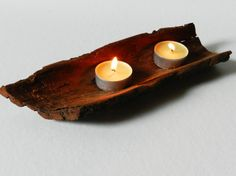 Rustic Wooden Candle Holders Natural wood One of a by STWooDandCo, €10.00