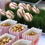 Baseball themed dessert display including caramel corn and custom baseball cookies - we created this for a corporate celebrity-endorsed promotion for a children's charity