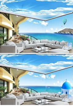 Seaside scenery entire room wallpaper wall mural decal Related posts:Botanical Mural on BehanceKomar Hide Out Wall MuralWorld Map Wall mural in Teal and Light Gray, Children Map with Animals, Little Explorer Wallpaper, N. 3d Wallpaper Decor, Hall Wallpaper, Scenery Wallpaper, Ceiling Murals, Floor Murals, Foto 3d, Wall Mural Decals, Wall Decor Design, Interior Design Living Room