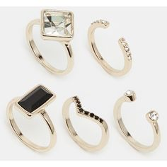 Oasis Deco & Pave Multi Stacking Rings (18 AUD) ❤ liked on Polyvore featuring jewelry, rings, gold, deco jewelry, pave stackable rings, art deco inspired jewelry, art deco jewellery and diamante jewelry