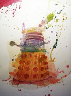 dalek watercolor painting... oh man.  AG - this is some serious fantasticity.