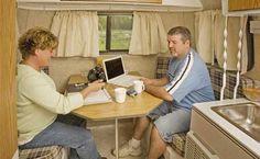 Scamp 13 small travel trailer interior
