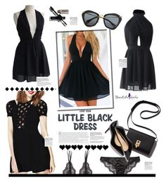 """""""Beautifulhalo.com: Love your Little black dress"""" by hamaly ❤ liked on Polyvore featuring Miu Miu, Bluebella, women's clothing, women, female, woman, misses, juniors, ootd and cardigan"""