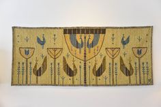 """Mid Century Ackerman Style Tapestry Wall Hanging or Rug Measures 65"""" W x 28"""" H"""
