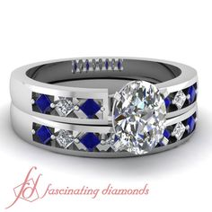 .55 Ct Oval Shaped Diamond Blue Sapphire TREMENDOUS Wedding Rings Set GIA in White Gold