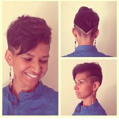 Short pixie. She is rockin that • SHAVED SIDES •