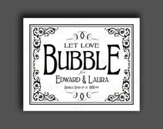 DIY Printable Vintage style Bubble Send Off Wedding sign to display for your wedding bubbles! This design is part of our Vintage Black Tie Collection! We offer a full line of coordinating signs in this design so please check out our other listings! https://www.etsy.com/shop/PSPrintables?section_id=14384156  Sign reads: Put your wish inside a bubble and send it to the happy couple.  We also offer this sign in our traditional black and white Black Tie Design…