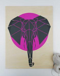 Geometric Pink Elephant on Plywood. Large Size. Original Art. Stencil Art. Geometric Elephant