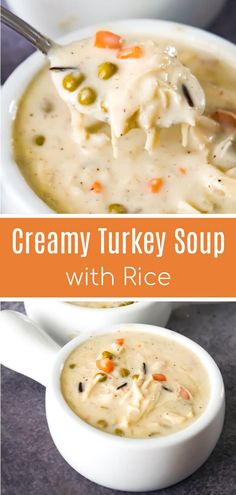Creamy Turkey Soup with Rice is a perfect fall comfort food recipe. This hearty … Creamy Turkey Soup with Rice is a perfect fall comfort food recipe. This hearty soup is a great way to use up your leftover Thanksgiving turkey. Creamy Turkey Soup, Turkey Rice Soup, Leftover Turkey Soup, Turkey Crockpot Soup, Turkey Soup From Leftovers, Recipes With Leftover Turkey, Best Turkey Soup, Turkey Stew, Turkey Food