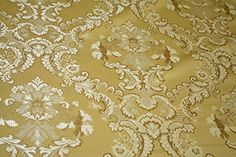 Damask Upholstery and Drapery , Jacquard Fabric Sold By the Yard (Gold) Fabric Drapery