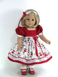 Handmade Doll Clothes for American Girl - Dress, Headband, Pantaloons - Bear Hugs, Hearts - Exclusively Linda Doll Clothes