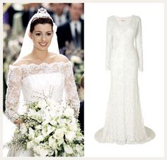Princess Mia's (Anne Hathaway) wedding dress - The Princess Diaries 2. Get the look with the Evelyn Lace Wedding Dress