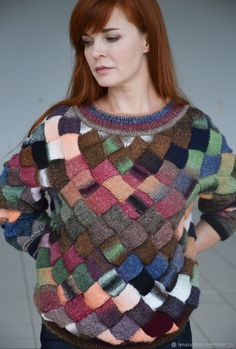 "Knitted Jumper ""Entrelac"" 42-46R - combo, interlock, entrelac, knitted patchwork, fashionable jumper"