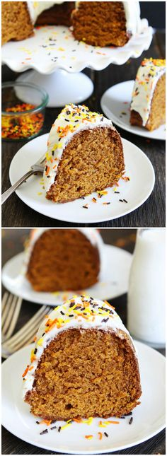 Pumpkin Bundt Cake with Cream Cheese Frosting Recipe on twopeasandtheirpod.com This easy pumpkin cake is a fall favorite! Everyone will ask for the recipe!