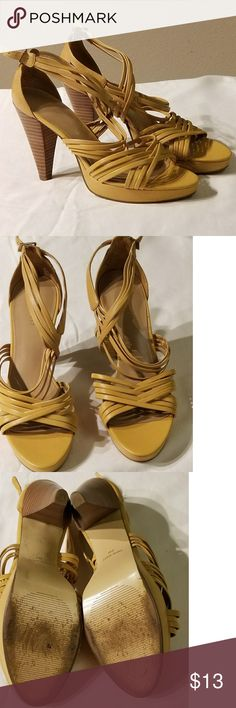 Nine West Mustard Seed Leather Sandals near new Nine West Mustard Seed Leather Sandals near new...Wooden heel...very comfortable! Nine West Shoes Sandals