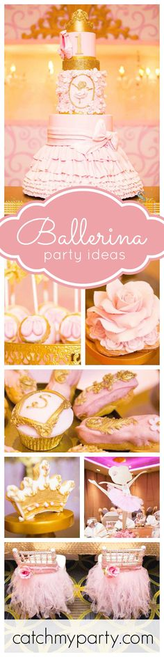 A gorgeous 1st birthday ballerina party what will blow you away! The rose cookies are absolutely stunning! The attention to detail is out of this world! See more party ideas at CatchMyParty.com