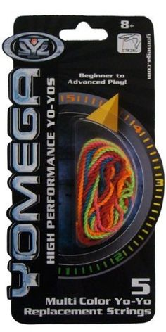 Yomega YoYo Multi-Color Replacement String by Yomega. $5.13. From the Manufacturer                Assorted neon colors to accent your yo-yo and showcase your best tricks. Frequent string replacement is necessary to keep your yo-yo in high performance. Instruction included.                                    Product Description                This string is suitable for all yo-yos! Info from Yomega: Yomega® Formula-6TM String is a blend of cotton and polyester string de...