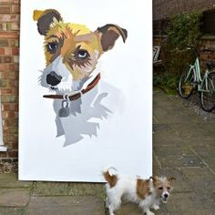 How To Paint The Giant Wall Portrait Your Pet Deserves — Apartment Therapy Reader Submission Tutorials — Apartment Therapy Giant Wall Art, Diy Wall Art, Diy Painting, Painting & Drawing, Skull Painting, Paint Your Pet, Art Background, Easy Paintings, Diy Stuffed Animals