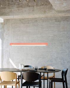 Rotterdam-based designer Sabine Marcelis has designed two lights for Established & Sons made from cylindrical bars of pastel-hued resin. Light Up, My House, Interior Design, Table, Dezeen, Room, Furniture, Home Decor, Lighting