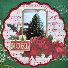 The Anna Griffin layout are great examples of how to use large bold patterned paper in your paper crafts. Christmas Scrapbook Layouts, Disney Scrapbook, Scrapbook Page Layouts, Scrapbook Paper Crafts, Scrapbook Cards, Christmas Layout, Christmas Paper, Christmas Countdown, Christmas Crafts