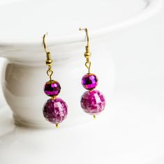 Faceted Bead Earring Radiant Orchid Jewelry by CraftedLocally, $16.00#radiant Orchid #earrings