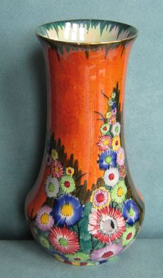 Beautiful Carlton Ware Lustred Vase in Garden Pattern No 3478 Art Deco 1930s | eBay