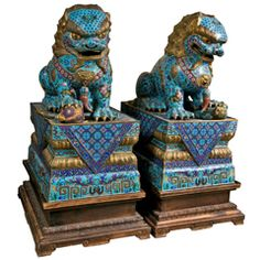 Large Pair of Chinese Cloissone Foo Dogs