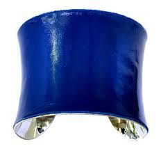 inspiration for the chair wall, covered in sapphire blue patent leather