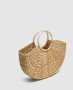 Image 3 of STRAW BAG WITH ROUNDED HANDLES from Zara