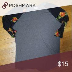 Lularoe top Grey top with floral sleeves. Lularoe. Good condition. LuLaRoe Tops Tees - Short Sleeve