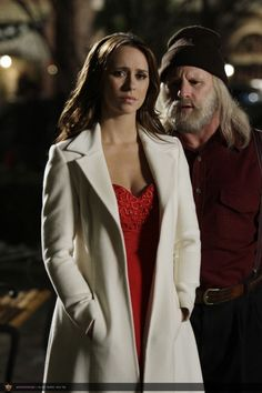Ghost Whisperer; one of my favorite outfits of her's: sexy red dress under gorgeous cream trench coat