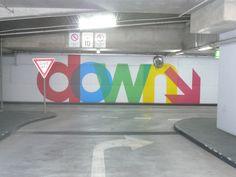 Car park with Morag Myerscough supergraphics, Melbourne