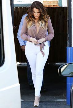 Khloe Kardashian's LA Jaide Clothing Brown Wrap Blouse, White Jeans, and Gianvito Rossi White Leather and Perspex Pumps 0