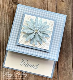 Daisy Lane Bundle - Stamping With Tracy - Fun Fold Cards - Daisy Lane Bundle – Stamping With Tracy Handmade fun fold card featuring the Stampin' Up! Created by Tracy Bradley, Independent Stampin' Up! Demonstrator www. Fun Fold Cards, Folded Cards, Handmade Birthday Cards, Greeting Cards Handmade, Handmade Cards For Friends, Stampin Up Anleitung, Friendship Cards, Stamping Up Cards, Card Sketches