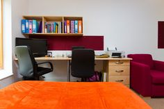 Mountain Halls Studio flat: rooms come with comfy chair, large work station and a book shelving unit. Comfy Chair, Chair Upholstery, Corner Desk, Shelving, Mountain, Rooms, Flat, Studio, Furniture