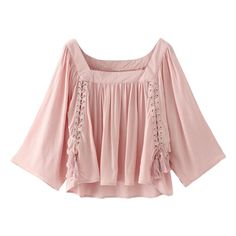 Wide Sleeve Flowy Trapeze Blouse Pink ($27) ❤ liked on Polyvore featuring tops, blouses, trapeze tops, sleeve blouse, sleeve top, trapeze blouse and pink top