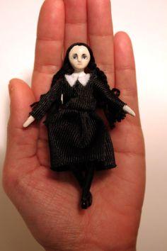 Wednesday Addams wooden palm size goth doll Weird by MonkEyGstudio